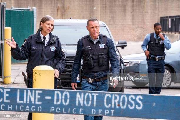 D 'Trigger' Episode 607 Pictured Amy Morton as Desk Sgt Trudy Platt Jason Beghe as Sgt Hank Voight