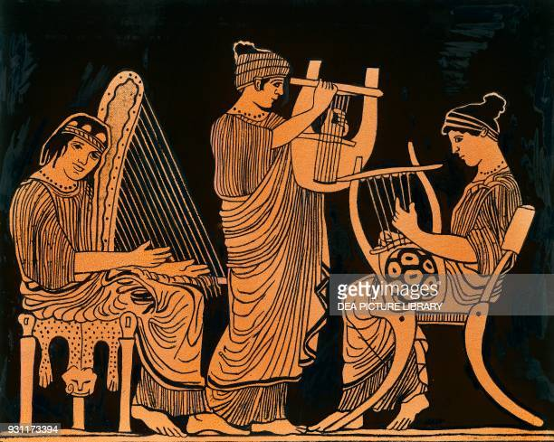 Trigonon Vhitara and Lyre players drawing Greece Greek civilization