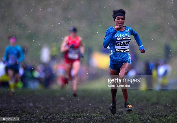 Trihas Gebre of Team Europe in action while competing in the senior womens 6K during the Great Edinburgh X Country at Holyrood Park on January 10...