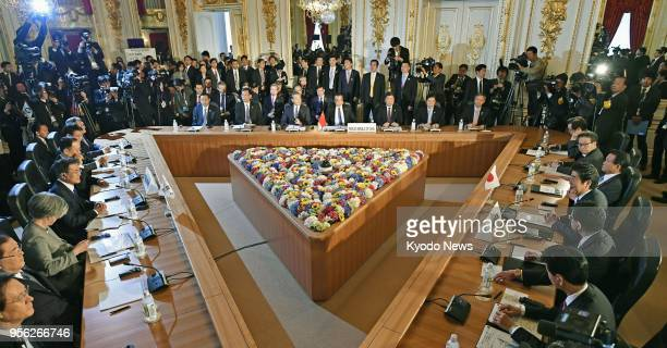 A trilateral summit is held between Japan China and South Korea at the Akasaka Palace state guesthouse in Tokyo on May 9 2018 ==Kyodo