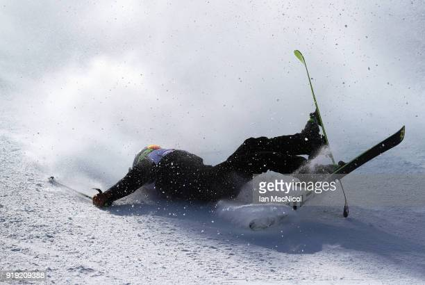 Trili Sjaastad Christiansen of Norway crashes during the Freestyle Skiing on day eight of the PyeongChang 2018 Winter Olympic Games at Phoenix Snow...