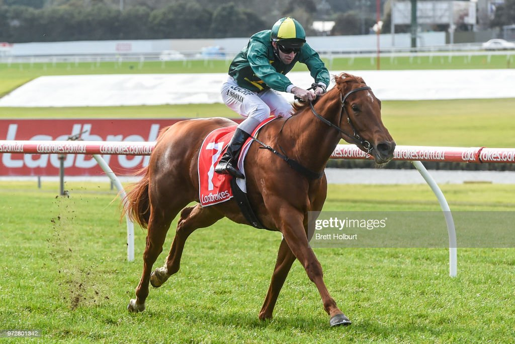 Trilli (NZ) ridden by Jake Noonan wins the Le Pine Funerals Handicap at Ladbrokes Park Hillside Racecourse on June 13, 2018 in Springvale, Australia.