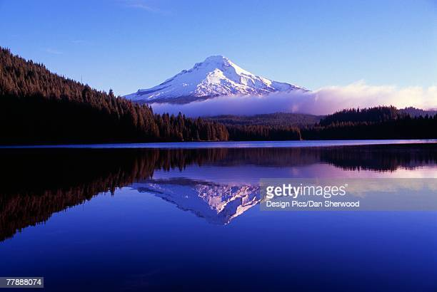 """trillium lake with reflected mount hood at daybreak, mount hood national forest"" - dan peak stock photos and pictures"