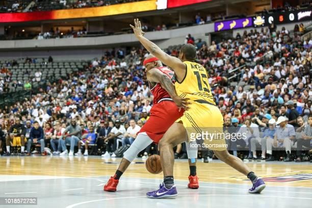 Trilogy Al Harrington and Killer 3's Ron Artest battle for position during the Big 3 Basketball playoff game between the Trilogy and the Killer 3's...