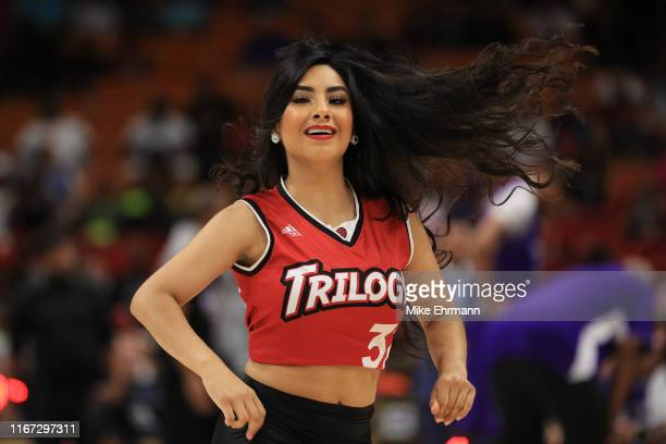 Trilogy dancer performs during a timeout against the Ghost Ballers during week eight of the BIG3 three on three basketball league at AmericanAirlines...