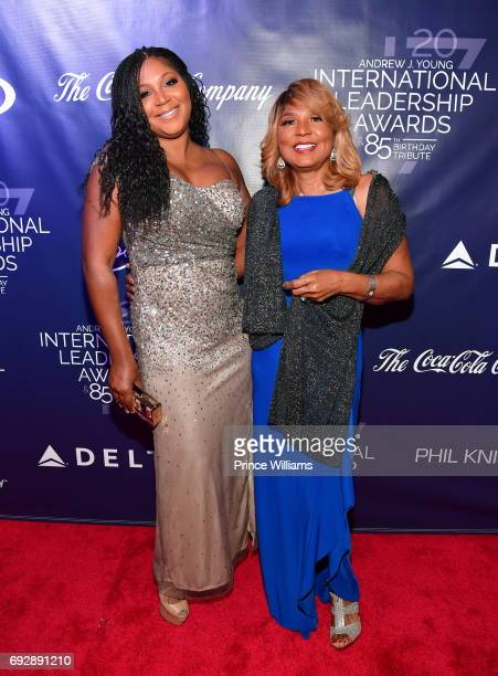Trina Braxton and Evelyn Braxton attend the 2017 Andrew Young International Leadership awards and 85th Birthday tribute at Philips Arena on June 3,...
