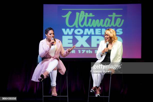 Trina Braxton and Evelyn Braxton on stage during the Atlanta Ultimate Women's Expo at Georgia World Congress Center on June 2, 2018 in Atlanta,...