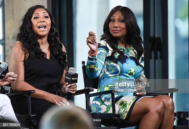 Trina Braxton and Towanda Braxton attend AOL Build to discuss the show 'Braxton Family Values' on May 16, 2016 in New York, New York.