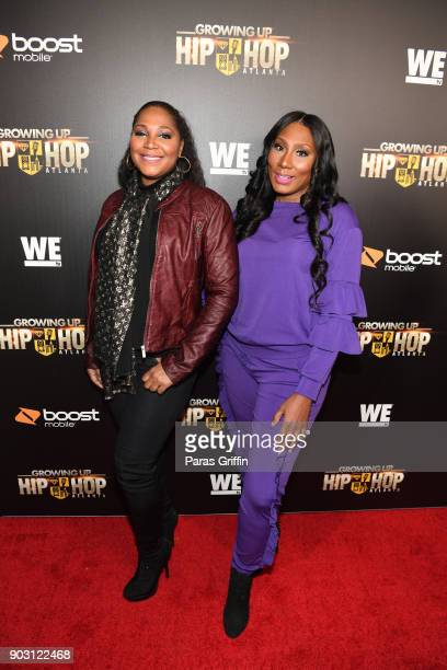 Trina Braxton and Towanda Braxton attend 'Growing Up Hip Hop Atlanta' season 2 premiere party at Woodruff Arts Center on January 9 2018 in Atlanta...