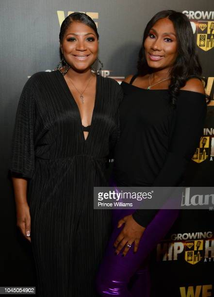Trina Braxton and Towanda Braxton attend the return of Growing up Hip Hop at Tongue & Groove on October 2, 2018 in Atlanta, Georgia.
