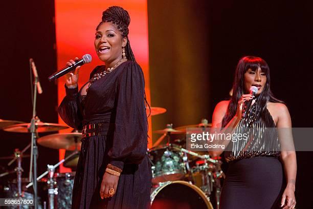 Trina Braxton and Towanda Braxton perform at the 2016 BMI R&B/Hip-Hop Awards at Woodruff Arts Center on September 1, 2016 in Atlanta, Georgia.