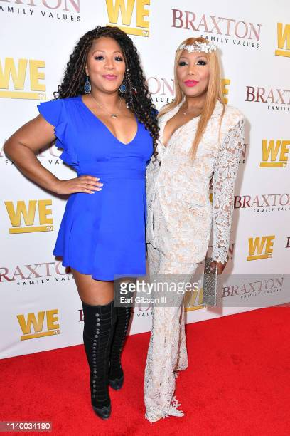 "Trina Braxton and Traci Braxton are seen as We TV celebrates the premiere of ""Braxton Family Values"" at Doheny Room on April 02, 2019 in West..."
