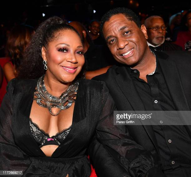 Trina Braxton and Von Scales attend 2019 Black Music Honors at Cobb Energy Performing Arts Centre on September 05, 2019 in Atlanta, Georgia.