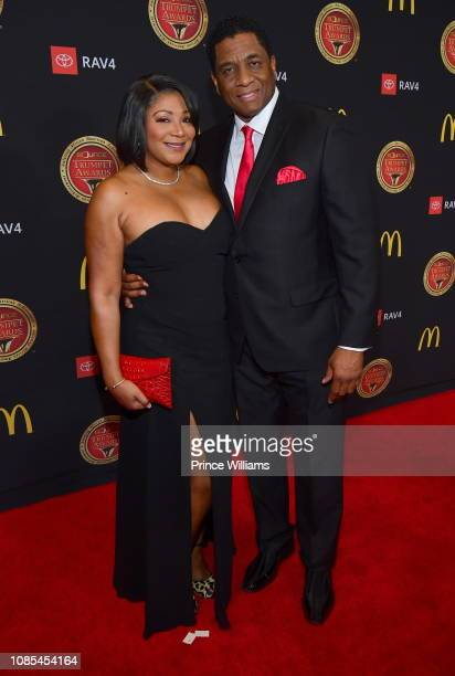 Trina Braxton and Von Scales attend 2019 Trumpet awards at Cobb Energy Performing Arts Center on January 19, 2019 in Atlanta, Georgia.