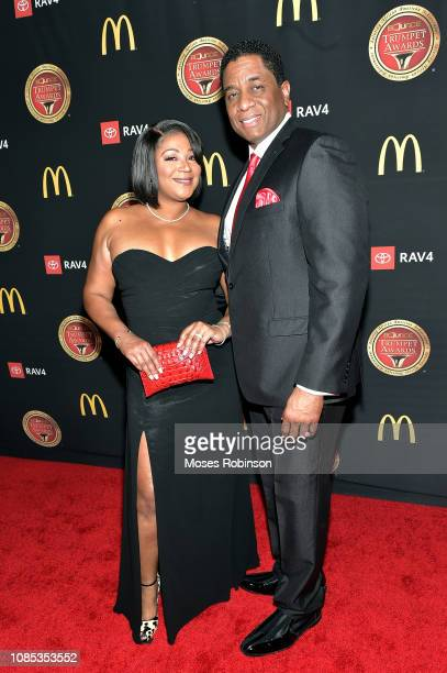 Trina Braxton and Von Scales attend the 2019 Bounce Trumpet Awards on January 19, 2019 in Atlanta, Georgia.