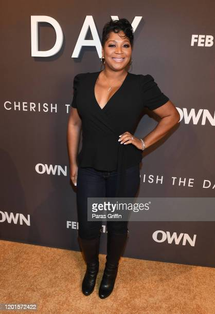 "Trina Braxton attends OWN Network's ""Cherish The Day"" Atlanta Launch Party at The Stave Room on January 23, 2020 in Atlanta, Georgia."