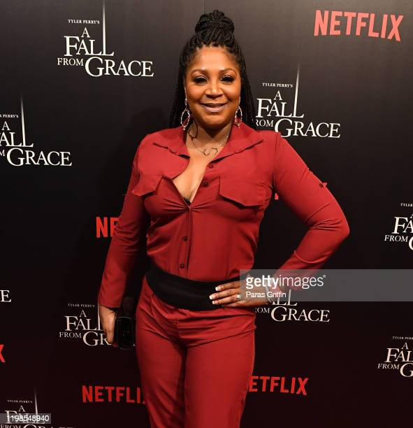 "Trina Braxton attends Tyler Perry's ""A Fall From Grace"" VIP Screening at SCAD Show on January 09, 2020 in Atlanta, Georgia."