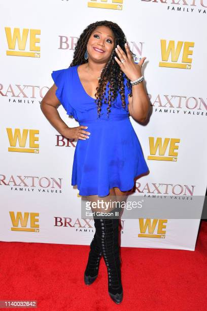 """Trina Braxton is seen as We TV celebrates the premiere of """"Braxton Family Values"""" at Doheny Room on April 02, 2019 in West Hollywood, California."""