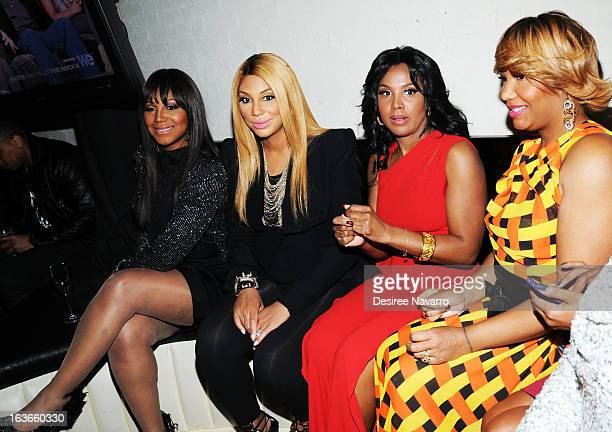 "Trina Braxton, Tamar Braxton, Toni Braxton, and Traci Braxton attend the ""Braxton Family Values"" Season Three premiere party at STK Rooftop on March..."