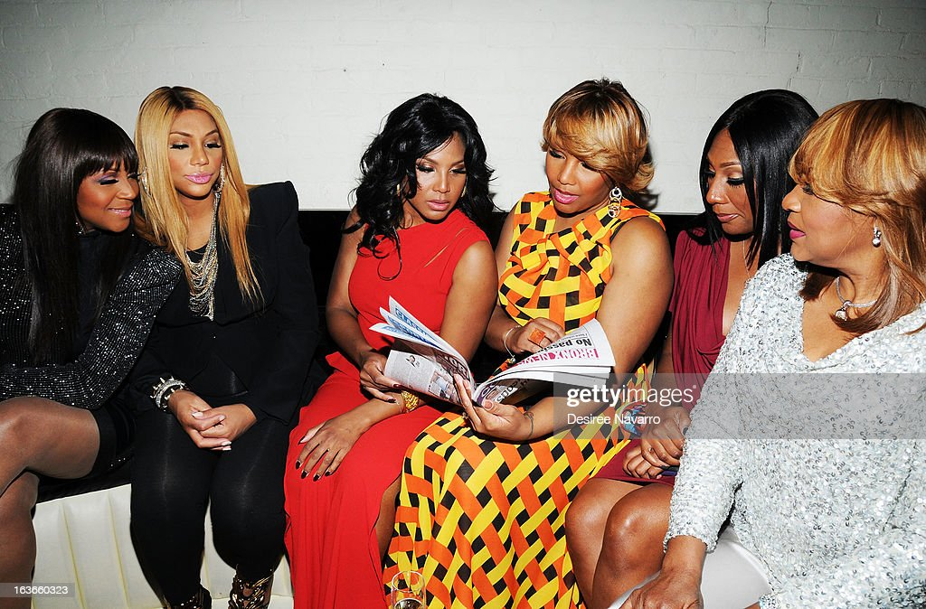 Trina Braxton, Tamar Braxton, Toni Braxton, Traci Braxton, Towanda Braxton and Evelyn Braxton attend the 'Braxton Family Values' Season Three premiere party at STK Rooftop on March 13, 2013 in New York City.