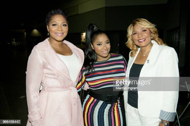 Trina Braxton, Toya Wright, and Evelyn Braxton backstage during the Atlanta Ultimate Women's Expo at Georgia World Congress Center on June 2, 2018 in...