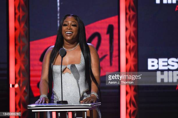 Trina speaks onstage during the 2021 BET Hip Hop Awards at Cobb Energy Performing Arts Centre on October 01, 2021 in Atlanta, Georgia.