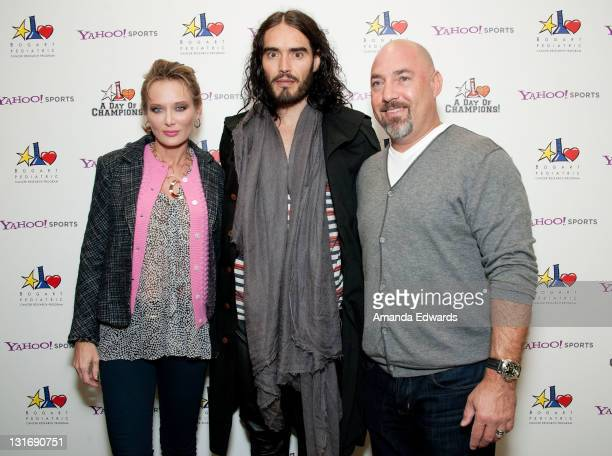 Trina Venit actor Russell Brand and talent agent Adam Venit attend the Yahoo Sports Presents A Day Of Champions event at the Sports Museum of Los...