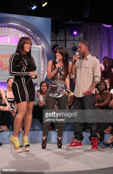 Trina visits BET's 106 Park with hosts Rocsi and Terrence J at BET Studios on May 3 2010 in New York City