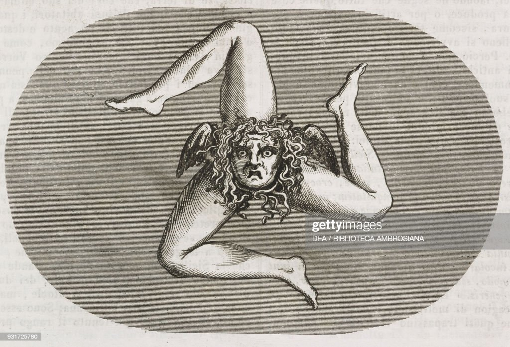 Trinacria Or Triskelion Three Legged Symbol Of Sicily Italy