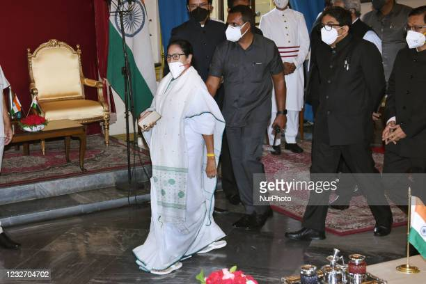 Trinamool Congress Chief Mamata Banerjee arrive during her Swearing -in-ceremony to take oath as the Chief Minister of West Bengal for the 3rd time...