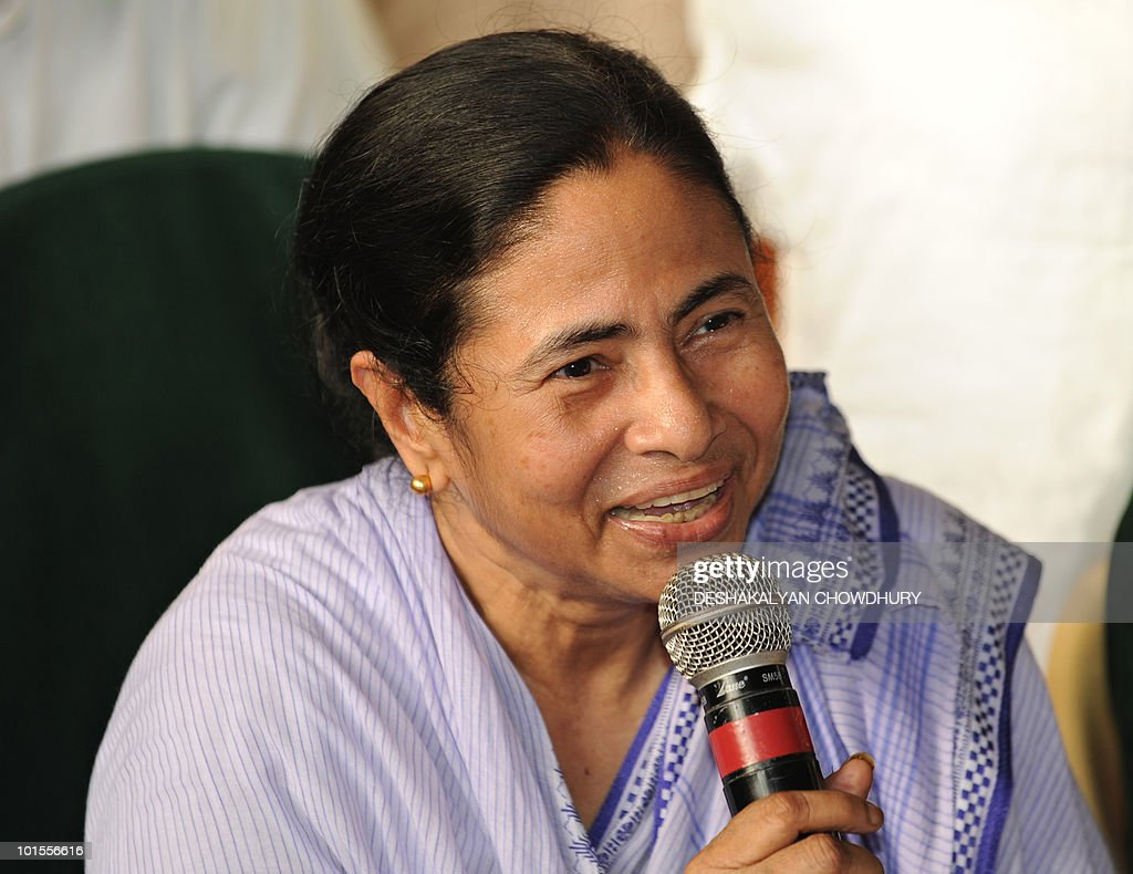 Trinamool Congress (TMC) chief Mamata Banerjee talks during a press conference in Kolkata, on June 2, 2010. The Banerjee-led TMC is leading in 95 wards out of the 141 in the Kolkata municipal election. AFP PHOTO/Deshakalyan CHOWDHURY