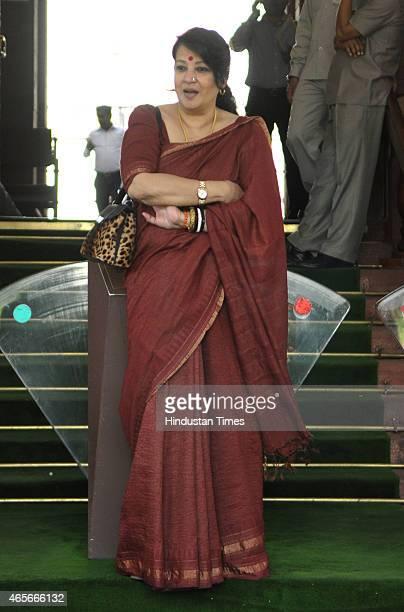 Trinamool Congress MP Munmun Sen at Parliament during Budget session on March 9 2015 in New Delhi India Members in both Lok Sabha and Rajya Sabha...