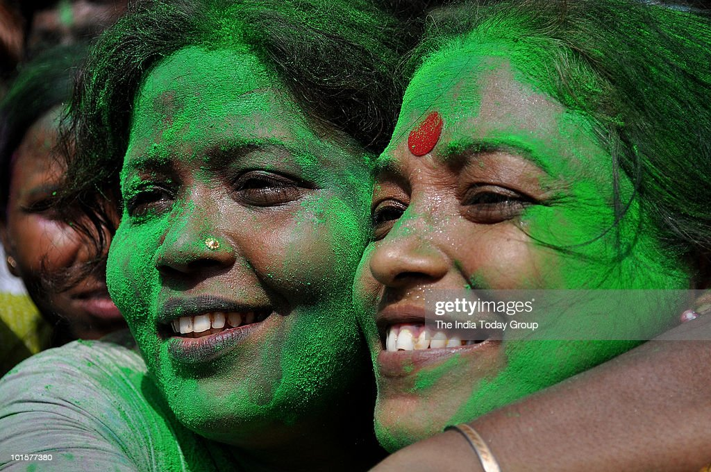 Trinamool Congress (TMC) supporters celebrate their party's win in West Bengal civic polls in Kolkata, on Wednesday, June 2, 2010.