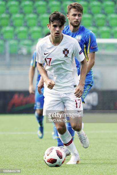 Trincao Francisco of Portugal plays the ball during the football 2018 UEFA European Under19 Championship semifinal match Ukraine vs Portugal in Vaasa...