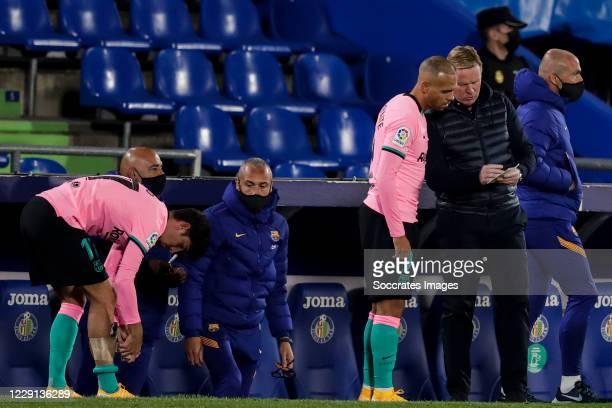 Trincao of FC Barcelona Martin Braithwaite of FC Barcelona coach Ronald Koeman of FC Barcelona during the La Liga Santander match between Getafe v FC...