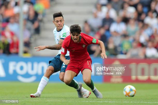 Trincao of Portugal and Francisco Ortega of Argentina in action during the 2019 FIFA U20 World Cup group F match between Portugal and Argentina at...