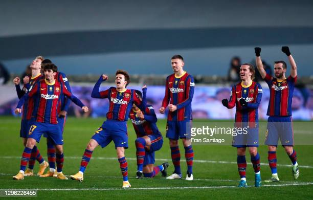 Trincao, Ricard Puig, Ronald Araujo, Clement Lenglet, Antoine Griezmann and Miralem Pjanic of Barcelona celebrate during a penalty shoot out during...