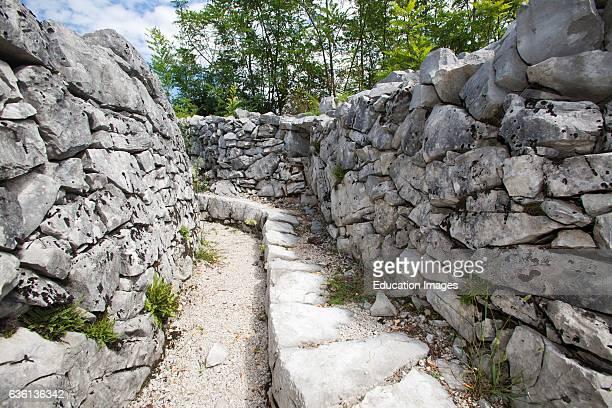 Trincea of the Brestovec Mountain Area of San Martino Del Carso Village Sagrado Italy