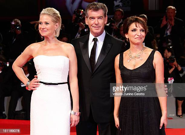 Trine Dyrholm Pierce Brosnan and Susanne Bier attend 'Love Is All You Need' Premiere during The 69th Venice Film Festival at the Palazzo del Cinema...