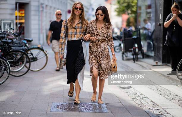 Trine Kjaer wearing asymmetrical skirt Burberry button shirt see through bag and Funda Christophersen wearing dress with leopard print Clut Gaia bag...