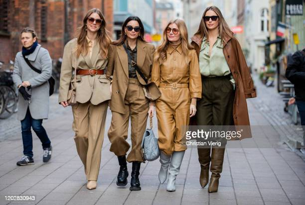 Trine Kjaer wearing beige belted blazer and pants Funda Christophersen wearing brown suit Bottega Veneta bag Mie Jul wearing beige overall and...