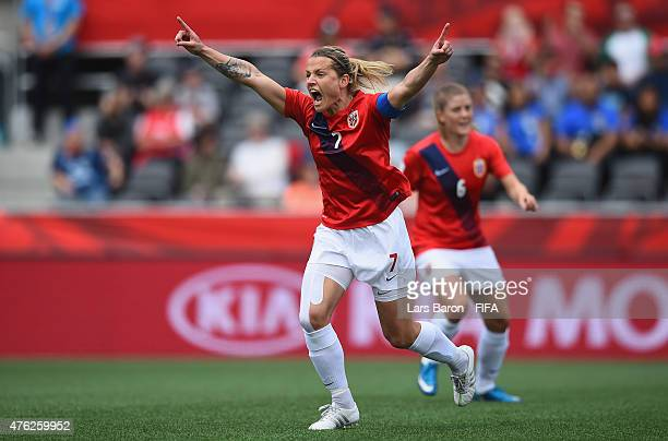 Trine Ronning of Norway celebrates after scoring her teams first goal during the FIFA Women's World Cup 2015 Group B match between Norway and...