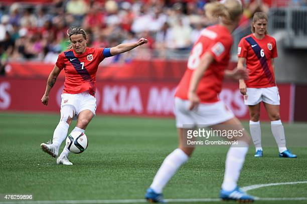 Trine Ronning of Norway scores the opening goal as she takes a free kick during the FIFA Women's World Cup Canada 2015 Group B match between Norway...