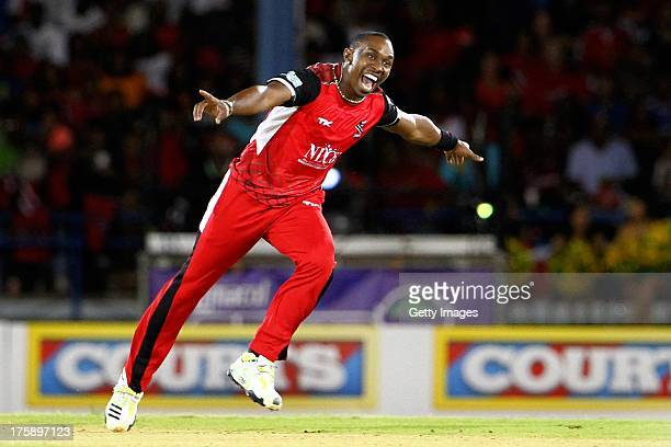 Trinidad and Tobago captain Dwayne Bravo celebrates a wicket during the Eleventh Match of the Cricket Caribbean Premier League between Trinidad and...