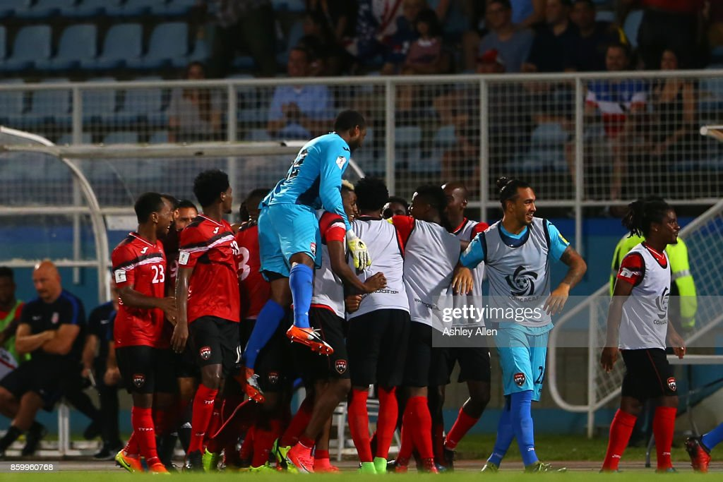 Trinidad and Tobago celebrate their second goal during the FIFA World Cup Qualifier match between Trinidad and Tobago at the Ato Boldon Stadium on October 10, 2017 in Couva, Trinidad And Tobago.