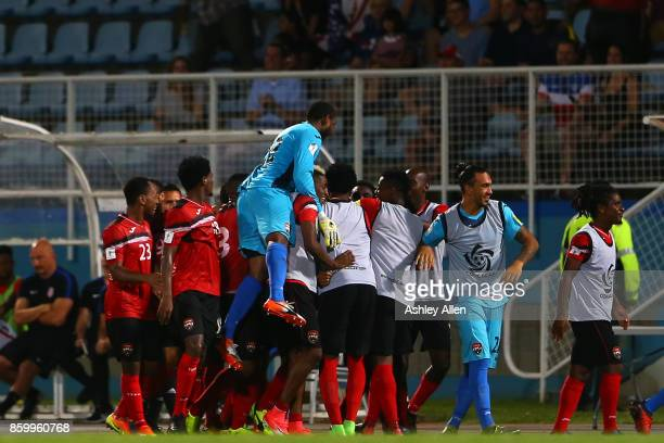Trinidad and Tobago celebrate their second goal during the FIFA World Cup Qualifier match between Trinidad and Tobago at the Ato Boldon Stadium on...