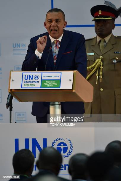 Trinidad and Tobago President Anthony Carmona gives an address at the official opening of the United Nations Environment Assembly at the UN...