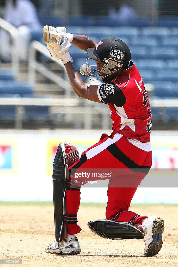 Trinidad and Tobago Red Steel's Adrian Barath gets hit on the grill during the Eighteenth Match of the Cricket Caribbean Premier League between St. Lucia Zouks v Trinidad and Tobago Red Steel at Sabina Park on August 17, 2013 in Kingston, Jamaica.