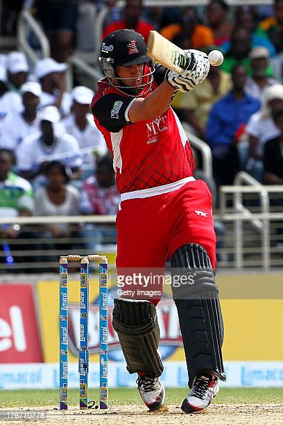 Trinidad and Tobago Red Steel's Ross Taylor pulls during the TwentyFirst Match of the Cricket Caribbean Premier League between Jamaica Tallawahs v...