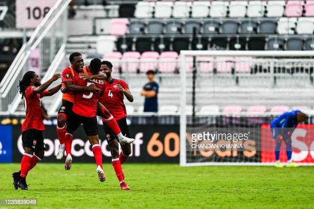 Trinidad and Tobago's celebrates after scoring the winning goal during the Gold Cup Prelims football match at the DRV PNK Stadium in Fort Lauderdale,...